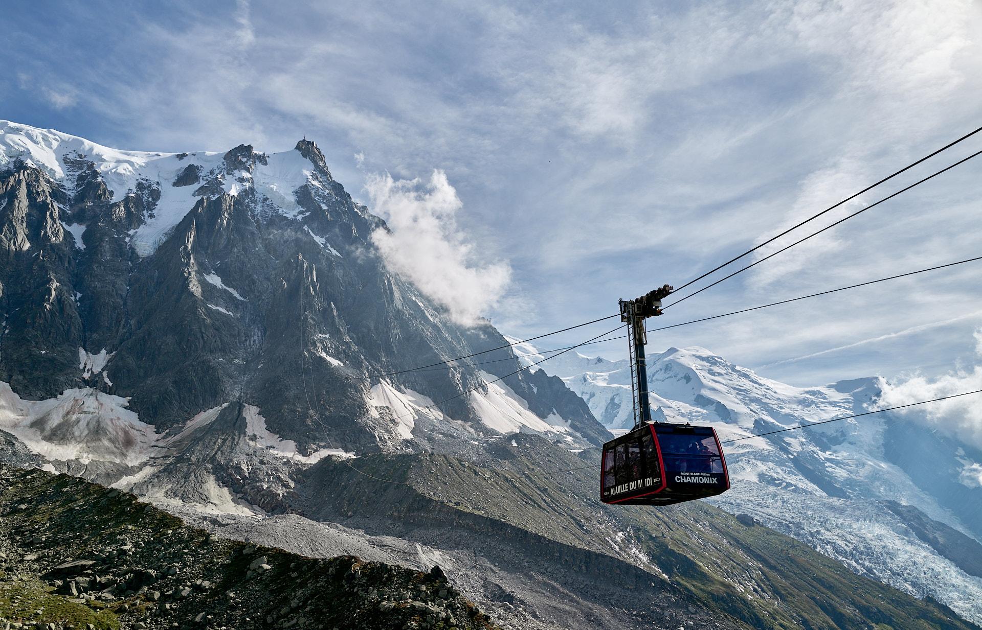 Plan de l'Aiguille, kabinen mot Aiguille du Midi