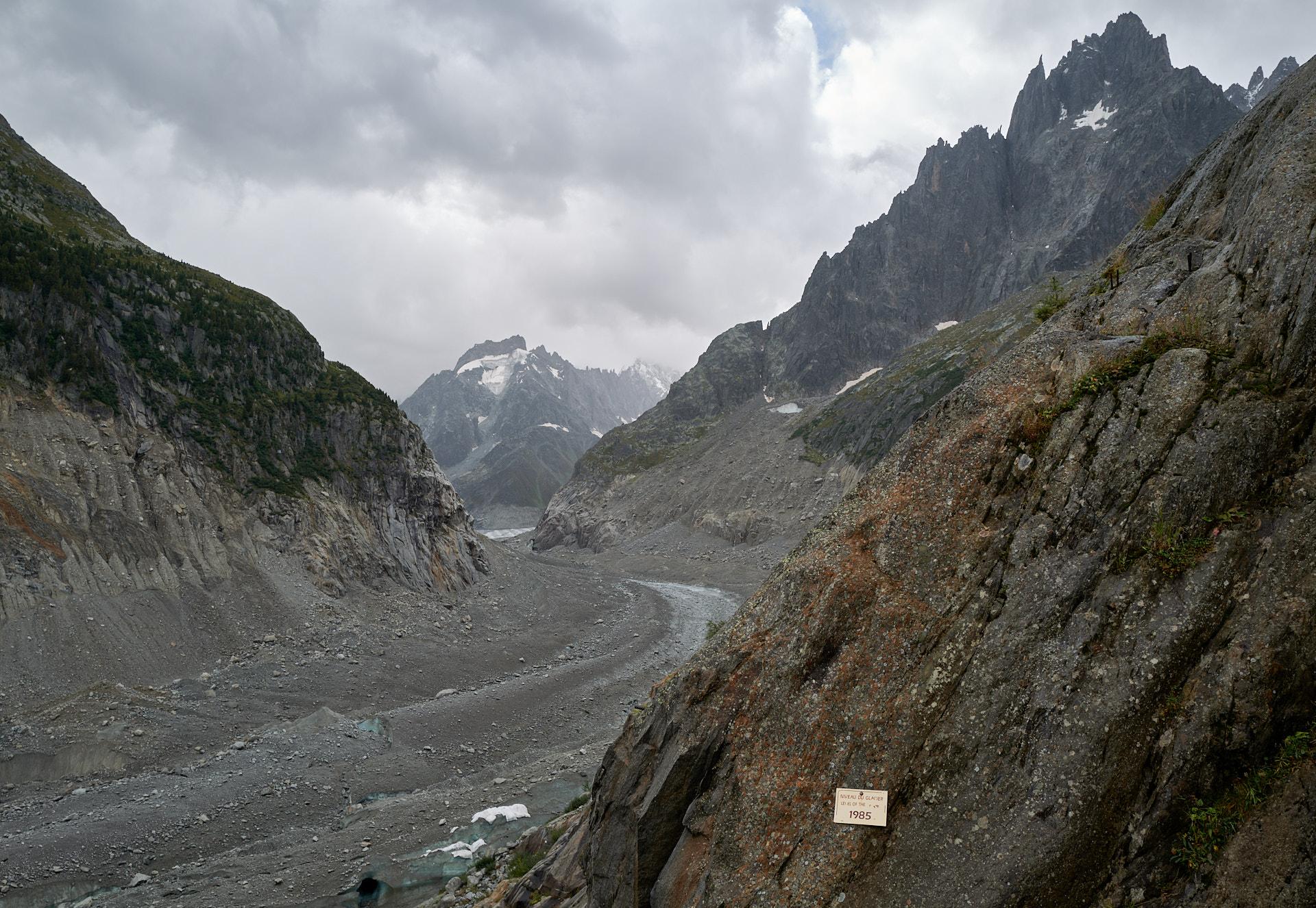 Montenvers och det som är kvar av glaciären