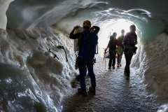 Aiguille du Midi, istunneln mot glaciären