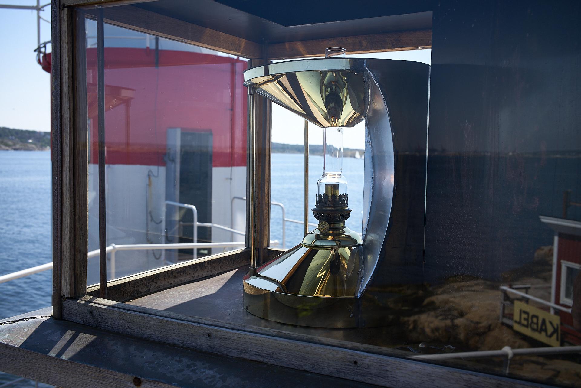 Gäveskär, återskapad sideralskensapparat som var en ursprungliga fyrlyktan